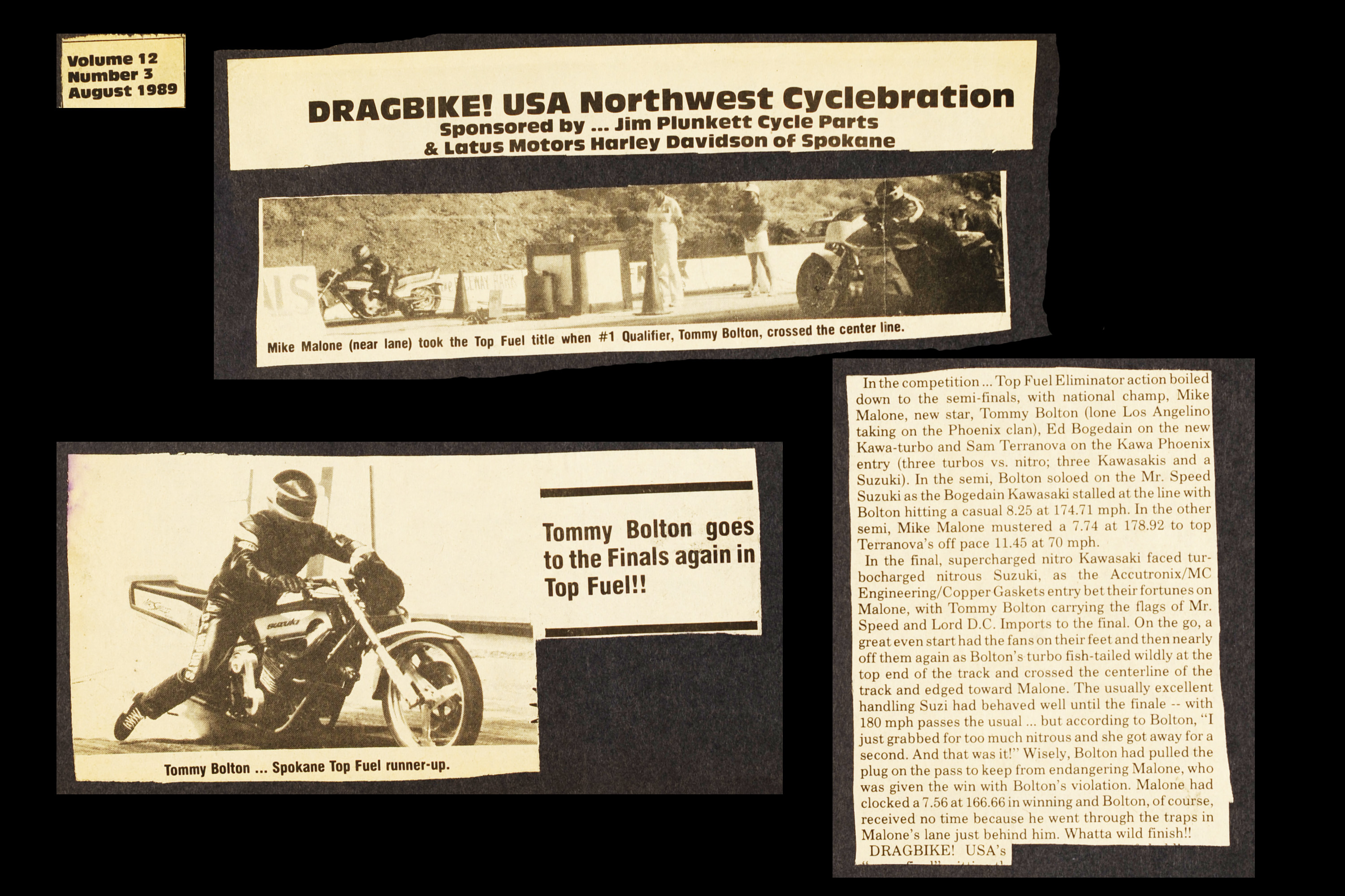 Tommy Bolton drag racing in Dragbike USA article