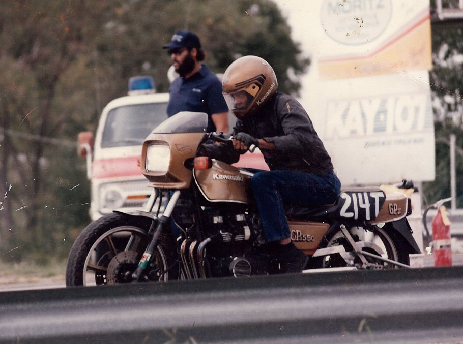 Glen Nickleberry Kawasaki GPZ-550 black drag racer