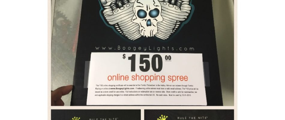 Boogey Lights and Tombo Racing are Giving Away a $150 dollar Gift Certificate Towards the Best Lights