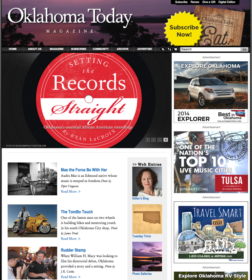 Tombo Racing was recently featured on the front page of the Oklahoma Today web site.